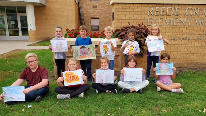 The winners of the Fire Prevention Week poster contest are pictured at Reede Gray Elementary School, front from left: William Green, Eden Palokangas, Elsie Blare, Haven Thielen, Josie Bidinger. Back: Nora Thomes, Carsten Madsen, Leo Mathiowetz, Jocelyn Thielen, Cora Tiffany.