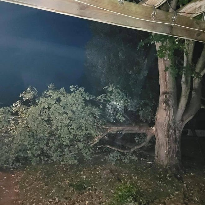 Damage from Monday night's storm system in Hartford, Mich., on Oct. 11, 2021.