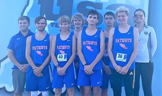 The Owen Valley boys' cross country team took part in Saturday's sectional in Terre Haute, with three runners advancing to regional competition. Team members include, front row, from left: Tristan Calvin, Kaden Shaw, Lucas Hendershot and Tucker McCarty. Back row: Coach Jacob Staley, Aidan Miller, Mark Abell and assistant coach Jozee Staley.