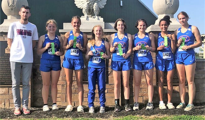 The Owen Valley Lady Patriot cross country team finished fifth Saturday to advance to regional action this weekend. Team members are from left: Coach Corbin Wrightsman, Nova Mobley, Madi Kay, Lily Smith, Madyson Whicker, Taylor York, Olivia Anderson and Rea Hinshaw. Not pictured: Cami Forston. More from Saturday's meet is featured in today's Spencer Evening World.
