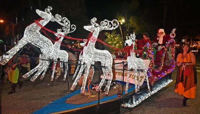 Santa and his sleigh were one of the floats at the 2018 Venice Holiday Parade. The parade will return to West Venice Avenue on Nov. 27. The 2020 parade was cancelled because of the COVID-1 pandemic. This year's parade will proceed with some COVID-19 related safety modifications.