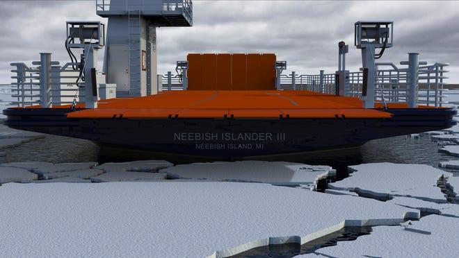 A computer rendering of the Neebish Islander III upon completion.