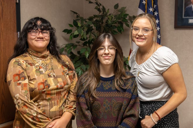 Pictured from left to right are Secretary Katelyn Nguyen, of Dustin; President Georgia Ledford, of Seminole; and Vice President Jenna Harrison, of Shawnee.