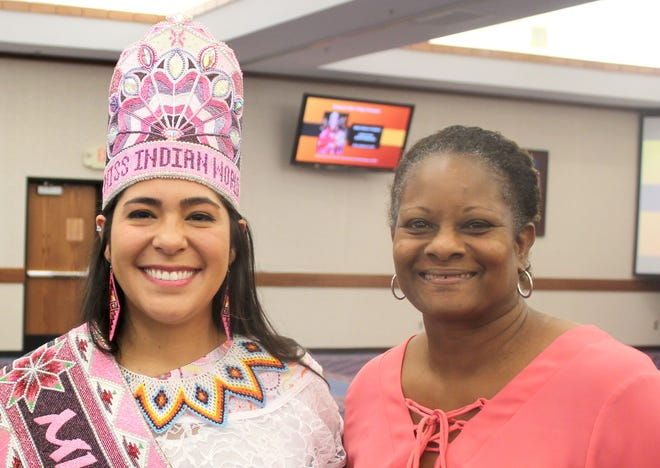 In this file photo, NASNTI Director Carol Parker (right) greets Miss Indian World Cheyenne Kippenberger (left) at a campus event on Sept. 20, 2019. The NASNTI program recently received a new grant focused on accessibility, computer science and Native American programming.