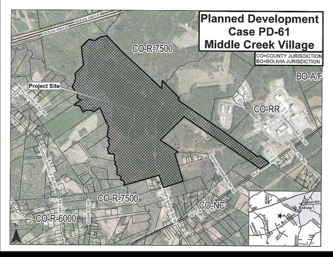 The Middle Creek Village Planned Development will add 743 housing units near the Brunswick County government building.