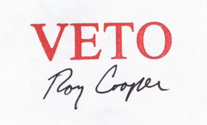 Gov. Roy Cooper's veto stamp mark on the 2019-2020 state budget, from late June 2019. The legislature was unable to override his veto and the state instead passed several partial spending plans for that biennium.