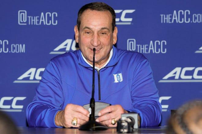 Oct 12, 2021; Charlotte, NC, USA; Duke coach Mike Krzyzewski speaks to the media at the ACC Tip Off at Charlotte Marriott City Center. Mandatory Credit: Jim Dedmon-USA TODAY Sports