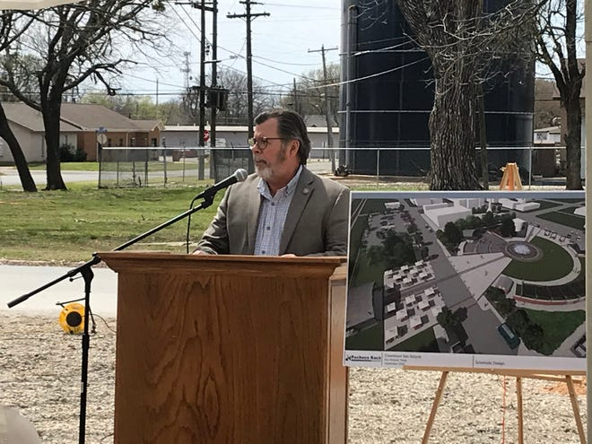 City Manager Lane Jones speaks during the groundbreaking celebration for the Central Social District Park on March 24, 2021. He has been sick for nearly three weeks with COVID-19.