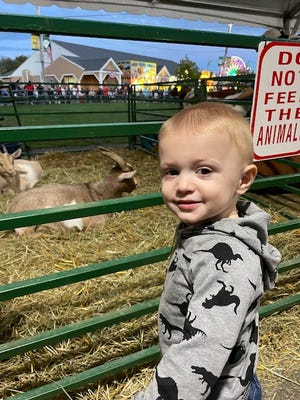 Santino DeNardo, 21 months, of Saugus, had a blast at his first outing to the Topsfield Fair.