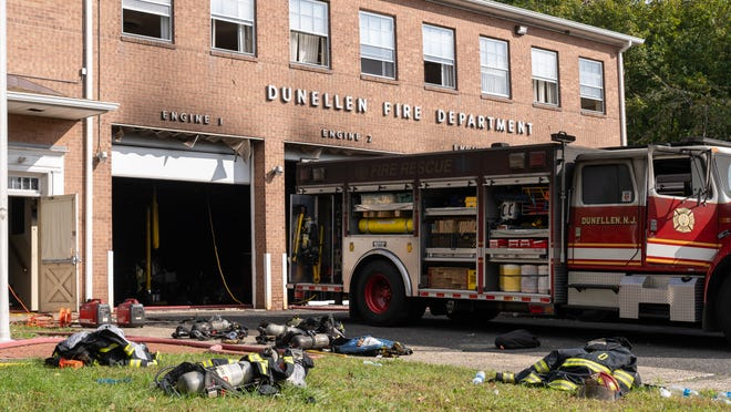 A charred fire truck at the Dunellen Fire Headquarters on Madison Avenue Tuesday afternoon.