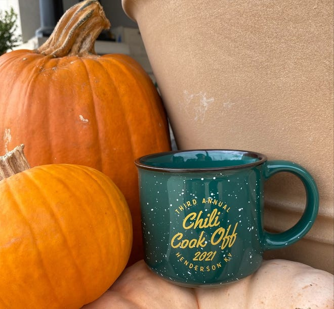 One of these mugs will gain you entry to the Chili Cook-Off in downtown Henderson this weekend. Mugs are $10 and can be bought at the Downtown Henderson Partnership, 101 North Water Street.