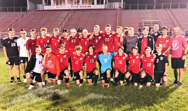 The Fairfield Union boys' soccer team defeated Hamilton Township 3-0 Monday night to win the Mid-State League-Buckeye Division championship with a 7-0 league record and improved to 14-1-1 on the season.