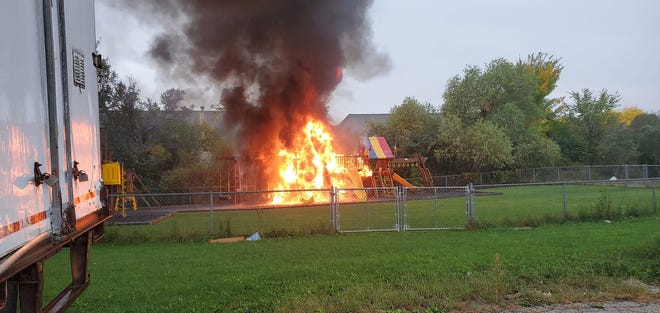 """A playground swing set burned down on Oct. 10 at Ingenious Inc. Child Care Center, 7260 S. 76th St. Franklin Fire Chief Adam Remington called the fire """"suspicious,"""" but said he is not ruling out the possibility of a lightning strike."""