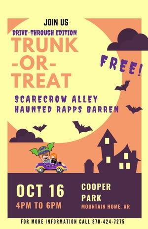 The Mountain Home Parks and Recreation Department will hold a Trunk or Treat Drive-Thru event on Saturday at the L.C. Sammons Youth Center from 4-6 p.m.