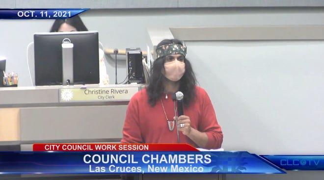 Diego Medina, a member of the Piro-Manso-Tiwa tribe, speaks before the Las Cruces City Council on Indigenous Peoples' Day, Oct. 11, 2021.