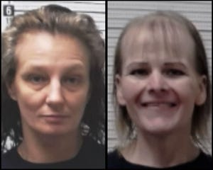 Brandy Woodward, left, and Shelly Raden reportedly walked away from an onsite work crew and are considered armed and dangerous. The public should notapproach these individuals, officials warned.