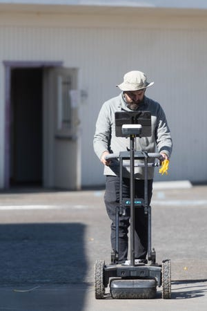 Mark Becker of ASM Associates operates a ground-penetrating radar at Visalia's Old Lumberyard. The team hopes to find remnants of Fort Visalia, the city's birthplace. Next month, the site will be demolished to make way for The Lofts at Fort Visalia, an 80-unit affordable housing project.