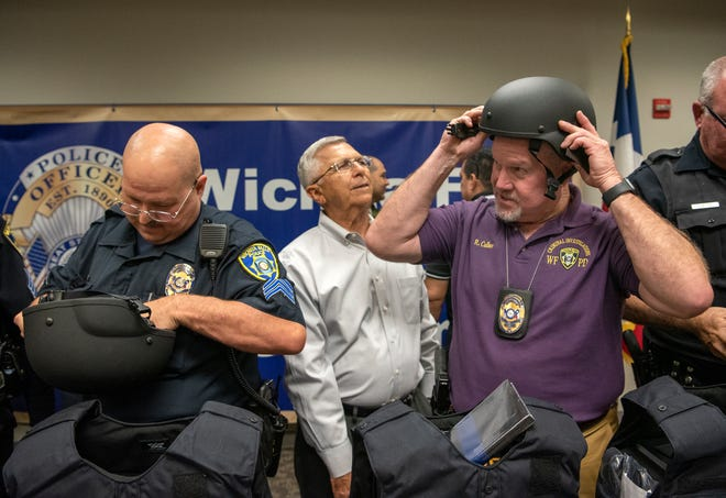Some Wichita Falls police officers received rifle-rated vests and gear during a ceremony and presentation Tuesday afternoon.