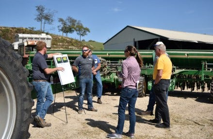 Wisconsin legislators, state agency representatives and local officials attended an on-farm field day to learn about sustainable farming practices through the Sustainable 4RWI partnership.