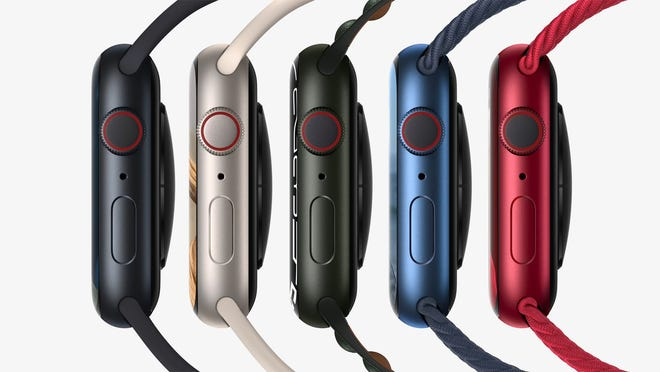 Five new color midnight, star lights, green, blue and red for the Apple Watch Series 7 aluminum case, which arrives on October 15 and starts at $ 399 for the 41mm model and $ 429 for the 45mm model. .
