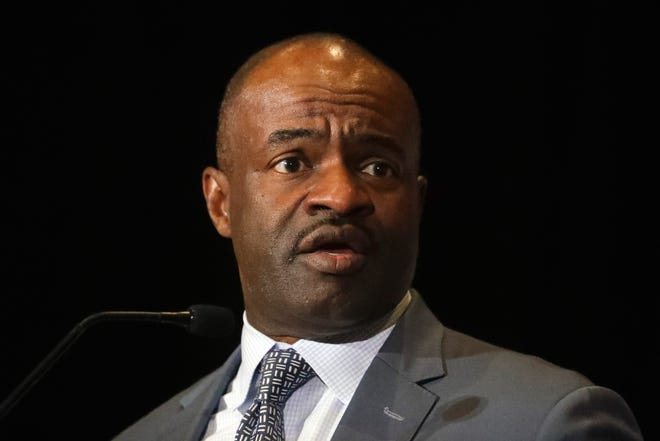 NFL Players Association executive director DeMaurice Smith speaks at the annual state of the union news conference in Miami Beach, Fla.
