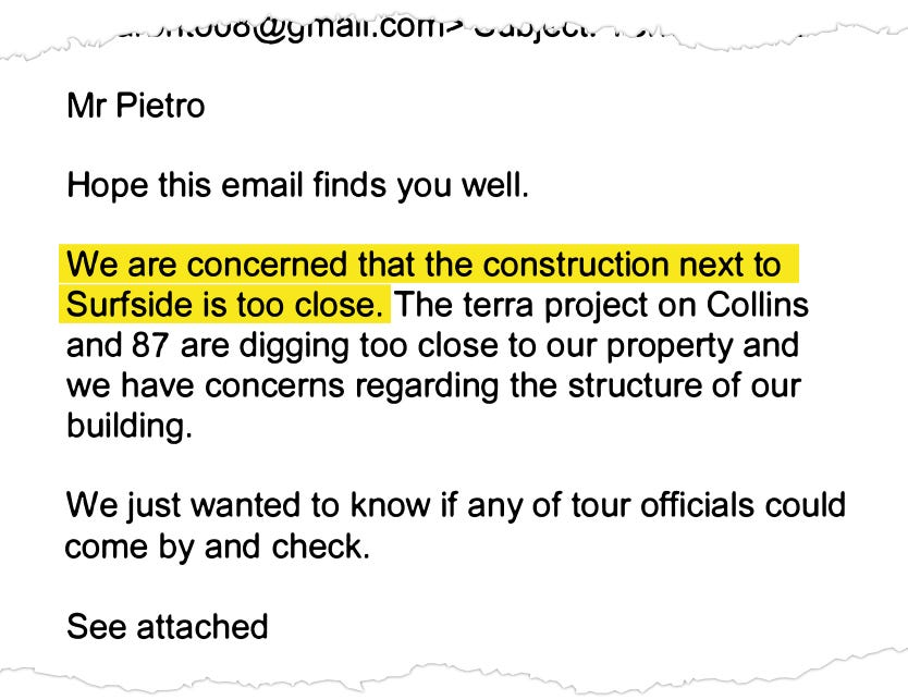 Mara Chouela, condo association vice president, emailed Ross Prieto, a Surfside building official, to express concerns about nearby construction in January 2019.