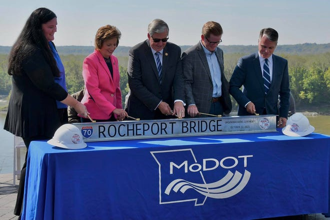 Dignitaries hold a ceremony to commence construction of the I-70 Bridge Tuesday at Les Bourgeois Vineyards in Rocheport.