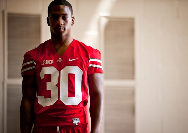 Devan Bogard, a former Ohio State defensive back seen here at the Woody Hayes Athletic Center in 2012, died in an apartment fire early Tuesday in Elyria.