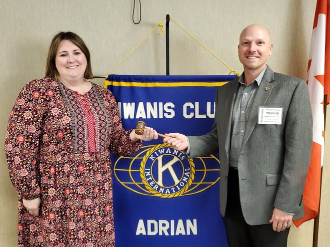A new president of the Kiwanis Club of Adrian took control of the gavel Sept. 29. Travis Havens, right, the president and CEO of Hospice of Lenawee, became the new club president at the meeting. He takes over the presidency from Sara Herriman, left, the director of community relations and development with the Boys and Girls Club of Lenawee.