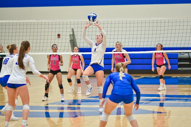 Haedyn Rebelsky sets the ball for the Bulldogs during a match against West Central Valley on Thursday, Oct. 7 in Van Meter.