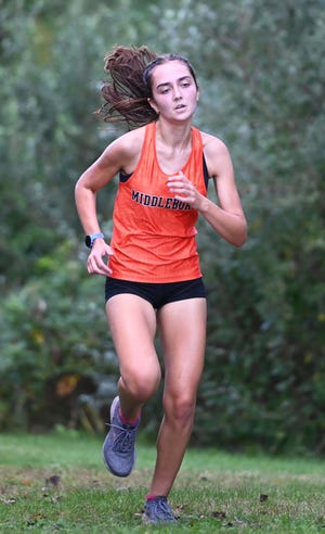 Middleboro's Ally Kirkpatrick, 17,  finished first in the girls cross country meet versus Rockland at Nicholas Middle School in Middleboro on Tuesday, Oct. 12, 2021.