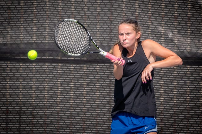 Grain Valley's Finley LaForge hits a forehand return in her No. 1 doubles match with partner Chelsea Gorden in a Class 2 state quarterfinal match against Carl Junction Tuesday. LaForge and Gorden won 8-1 and LaForge later won 6-2, 6-0 in No. 1 singles to help lift the Eagles to a 5-0 victory and their first state team final four berth.