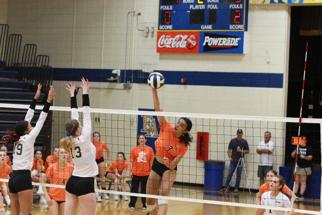 St. Amant's Amaya Evans comes up with a big spike during the Lady Gators' 3-1 victory over East Ascension.
