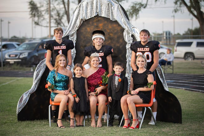 Members of the Ellis High School homecoming royalty are, ack Row, from left, Candidate Easton Burton, son of Corey and Amy Burton; King Tyson Jimenez, son of Javi and Jessica Jimenez; Candidate Mason Gottschalk, son of Dean and Julie Gottschalk front Row, from left, Candidate Michelle Gottschalk, daughter of Dean and Julie Gottschalk; Flower Girl Olivia North, daughter of Travis and Ava North; Queen Lakyn Fischer, daughter of DJ and Julie Fischer; Crown Bearer Beau Jimenez, son of Javi and Jessica Jimenez; Candidate Madison Gottschalk, daughter of Dean and Julie Gottschalk