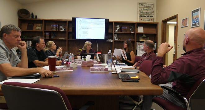Buhler Superintendent Cindy Couchman holds up drafts of the facility plan during a school board meeting at the Buhler administrative offices on Oct. 11.