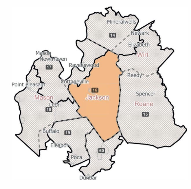 If the new House of Delegates district map is approved by the Senate and Governor, most of Jackson County will be the 16th District and the remaining part will be the 17th.
