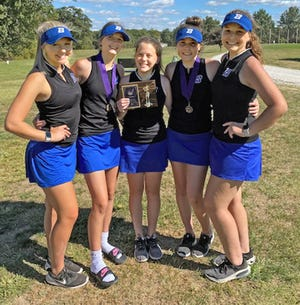 Even minus graduated 2020 state-tournament medal winner Demi Downey, the 2021 Brookfield Hgh School golf Lady Bulldogs again are district champions and state-tourney bound. (From left) The BHS quintet of Ella Thompson, Carly Clarkson, Taryn Morris, Maggie Bennett, and Brooke Falconer last Monday posted a low-4 team score of 432 to grab the Class 1 District 3  Tournament crown at the L.A. Nickell Golf Course in Columbia by a 13-shots margin over Salisbury. Under revised state-tourney advancement procedures instituted this year, Bennett will not get to play in the state tourney, since hers was BHS' highest (lowest-finishing) score at district.