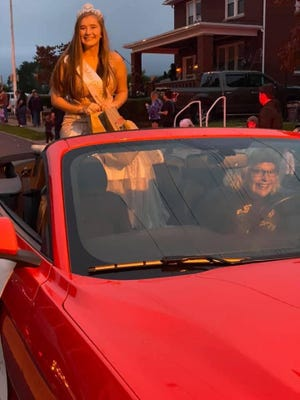 Miss Golden Tornado Rebeka Biser rides in style in the Keyser Homecoming Parade.
