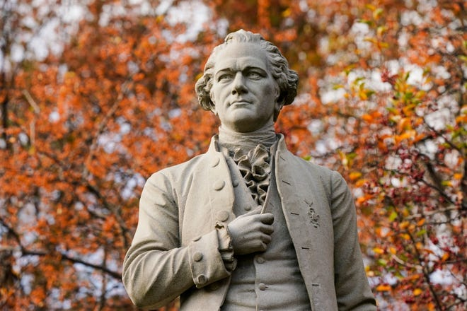 A statue of Alexander Hamilton in New York's Central Park.