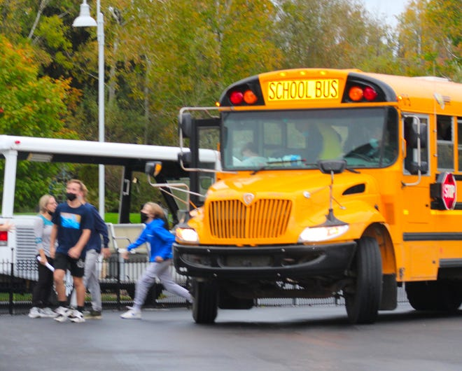 Charlevoix Middle/High School students were evacuated via bus to the nearby Castle Farms on Wednesday morning.