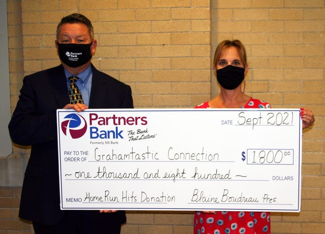 """From left, Blaine Boudreau, president and CEO of Partners Bank, presents a """"doubled down"""" donation to Leslie Morissette, Grahamtastic Connection Founder."""