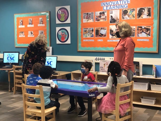 First Lady Jill Biden visits with students at the Learning Hub's Innovation Lab in Allentown, Pa., on Wednesday, Oct. 13, 2021.