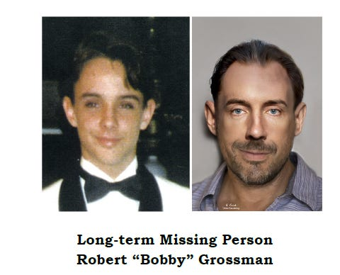 """Robert """"Bobby"""" Goodman was 18 years old at the time of his disappearance (see photo on the left above).  The age progression image was crafted by PBSO Forensic Imaging Unit to indicate what he might look like today."""