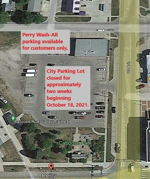 Vehicles will not be allowed to park in the city lot.Overnight parking restrictions will be suspended in the downtown area during the parking lot closure.