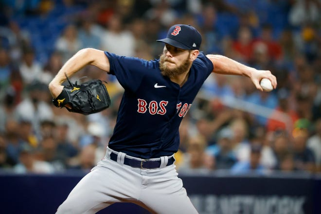 Boston manager Alex Cora says Chris Sale will pitch in the ALCS against Houston, but didn't detail when. The left-hander's last outing on Friday against the Rays in the ALDS (pictured) ended early.