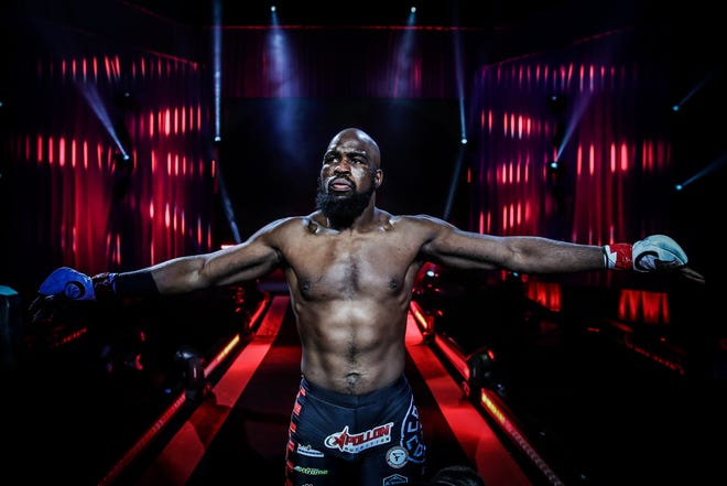 Former Hononegah wrestler and Rockton product Corey Anderson gets himself focused before his last fight back on April 17, 2021 at Bellator 257 in Uncasville, Conn., when he pounded Dovletzhan Yagshimuradov to win by third-round TKO.