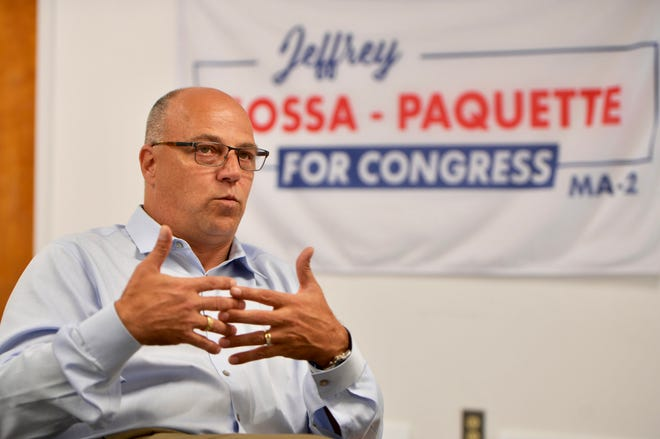 Jeffrey Sossa-Paquette speaks in his campaign headquarters Wednesday in Shrewsbury.