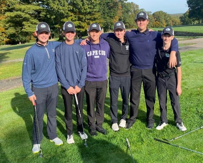 The Grafton golf team celebrates a SWCL Championship at Leicester Country Club on Tuesday.