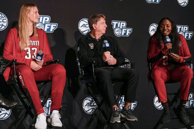 Oct 13, 2021; Charlotte, NC, USA; NC State Wolfpack center Elissa Cunane (33), forward Kayla Jones (25), and  head coach Wes Moore during the ACC Tip Off at Charlotte Marriott City Center. Mandatory Credit: Jim Dedmon-USA TODAY Sports