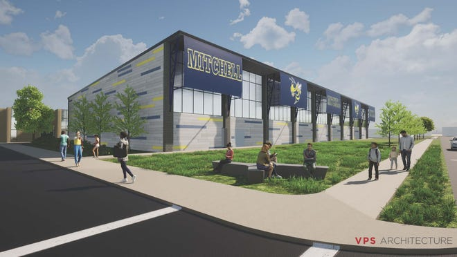 A digital rendering illustrates the outside design of Mitchell Community Schools soon-to-be-constructed Fieldhouse.